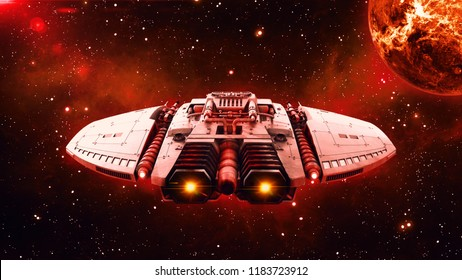 Alien spaceship in deep space, UFO spacecraft flying in the Universe with planet and stars in the background, back view, 3D rendering