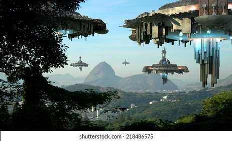 Alien spaceship fleet nearing the Sugarloaf mountain, in Rio de Janeiro, Brazil,  for futuristic, fantasy or interstellar travel or video-game war backgrounds.