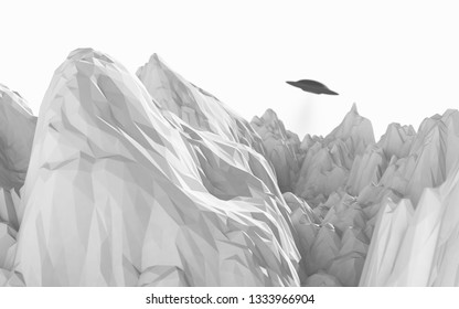 alien spaceship floats between mountains with low polygons against white background - 3d artwork