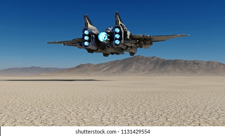Alien spaceship flying over a deserted planet with blue sky in the background, sci-fi scene, 3D rendering
