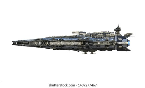 Alien spaceship flying, UFO spacecraft in flight isolated on white background, side view, 3D rendering