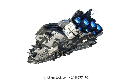 Alien spaceship flying, UFO spacecraft in flight isolated on white background, rear bottom view, 3D rendering