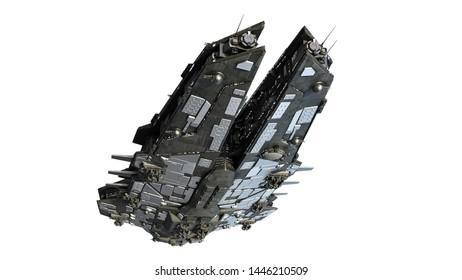 Alien spaceship flying, UFO spacecraft in flight isolated on white, bottom view, 3D render