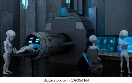 alien spaceship medical center 3d illustration