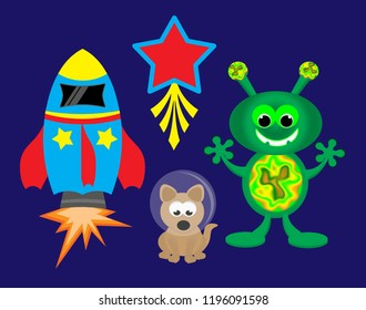 Alien and spaceship with shooting star and astronaut dog.
