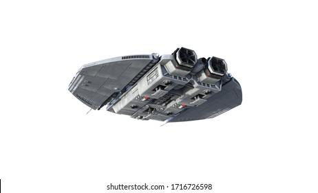 Außerirdisches Raumschiff, UFO-Raumfahrzeug einzeln auf weißem Hintergrund, Rückansicht, 3D-Darstellung