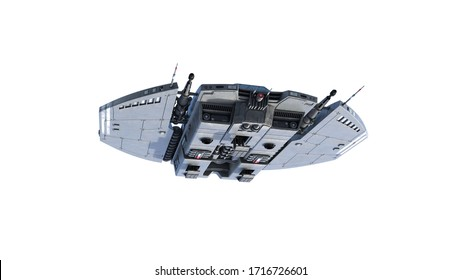 Alien-Raumschiff, UFO-Raumfahrzeug einzeln auf weißem Hintergrund, Bodenansicht, 3D-Darstellung