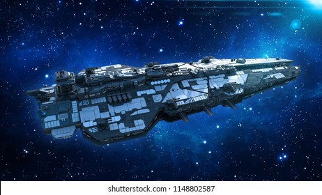 Alien spaceship in the Universe, spacecraft flying in deep space with stars in the background, UFO top view, 3D rendering