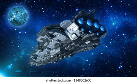 Alien spaceship in the Universe, spacecraft flying in deep space with planet and stars in the background, UFO rear bottom view, 3D rendering