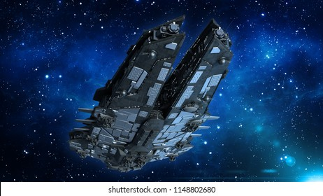 Alien spaceship in the Universe, spacecraft flying in deep space with stars in the background, UFO bottom view, 3D rendering