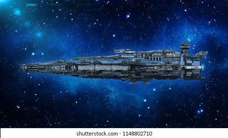 Alien spaceship in the Universe, spacecraft flying in deep space with stars in the background, UFO side view, 3D rendering