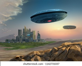 Alien spaceships approaching a city. Digital illustration.