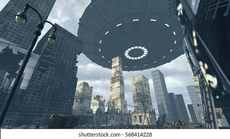 Alien UFO above apocalyptic Time Square New York Manhattan. 3D rendering