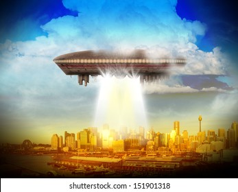 An alien UFO over a city of skyscrapers shinning a beam of light.