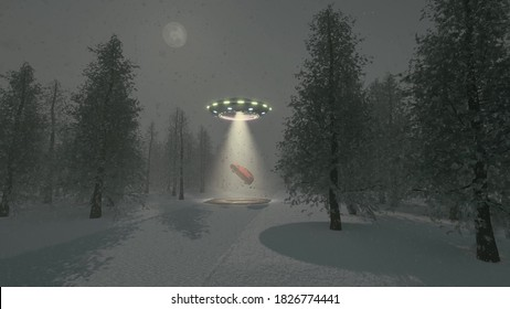 Alien UFO winter Christmas tree background 3d rendering