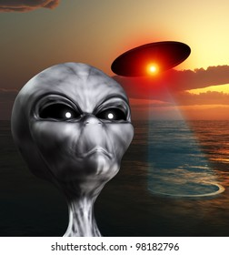 An alien watching the skies for UFOs.