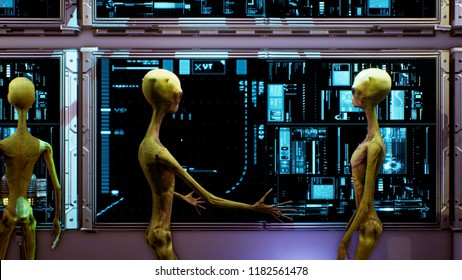 Aliens near the dashboard of the spacecraft. Super realistic concept. 3D Rendering
