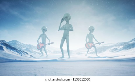Aliens sing and play guitars on their home snow planet. 3D Rendering.