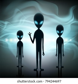 Aliens stand in the background of a spaceship. Contact with extraterrestrial life. Space invaders on UFO. Stock 3d illustration.