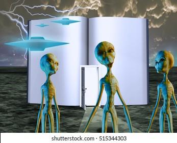 Aliens Story Book   3D Render