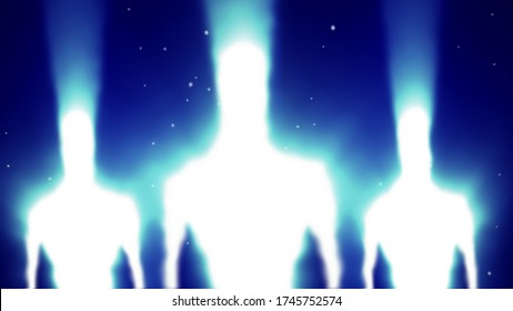 Aliens white silhouettes in rays of light with glitch effect. Illustration in genre of science fiction. Blue background color.