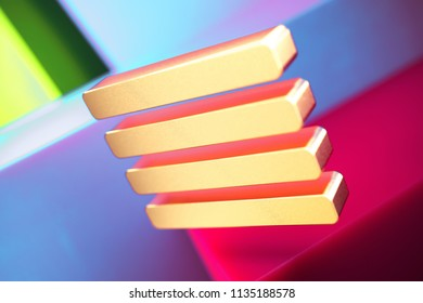 Align Text to Justify Icon on the Violet and Contrast Green Geometric Background. 3D Illustration of Gold Align, Alignment, Center, Hamburger, Justify, Menu, Text Icon Set With Installation of Color B