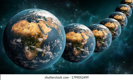 Alignment or array of many Earth planet in outer space scenery 3D rendering illustration. Multiverse or parallel universes concept. Earth textures provided by NASA.