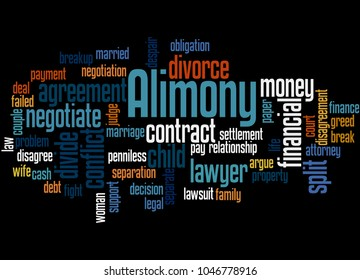 Alimony word cloud concept on black background.