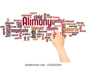 Alimony word cloud and hand writing concept on white background.