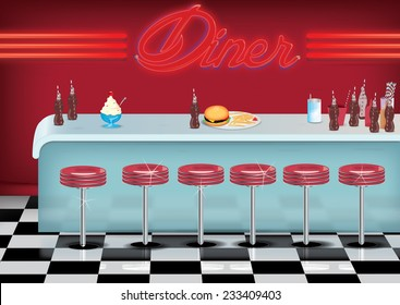 All American vintage style Diner cartoon with fried and burger on a counter.