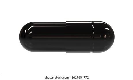 All Black Glossy Capsule Pill. 3D Render Isolaten on White Background.