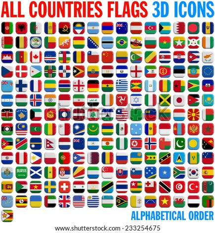 all country flags complete set 3 d stock illustration 233254675