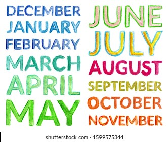 All English month names isolated on a white background. Colorful multicolored watercolor lettering for calendar