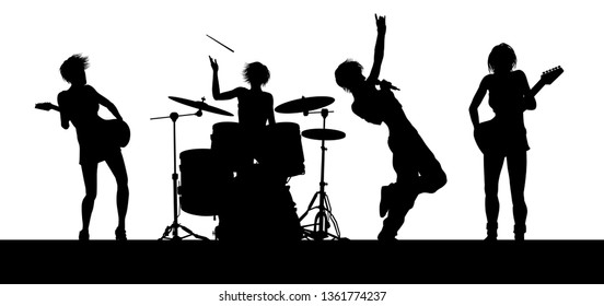 An all female women s musical group or rock band playing a concert in silhouette