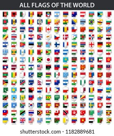 All flags of the world in alphabetical order. Square glossy sticker style