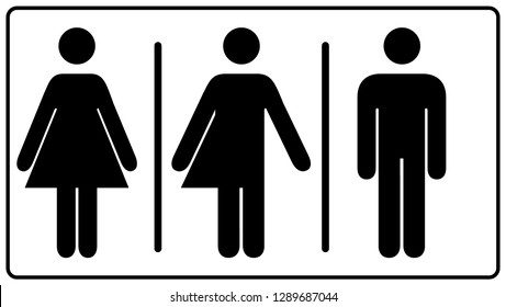 All gender restroom sign. Male, female transgender.  illustration. Black symbols isolated on white. Mandatory banner. Set of female, male and transgender people silhouettes