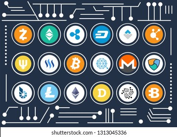 All kinds of cryptocurrency icons set inside circles on computer microscheme as background cartoon raster illustration. Digital money promo poster.