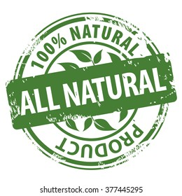 All Natural Organic Products 100 percent green rubber stamp icon isolated on white background. illustration