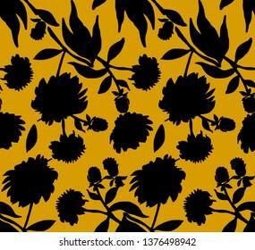 all over flower pattern illustration. one color print