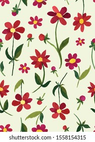 All over retro vintage floral botanical illustration seamless repeat pattern with large red dahlia daisy flowers on an off-white ground
