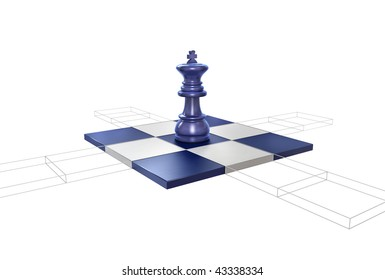 All possible moves of the king are visualized