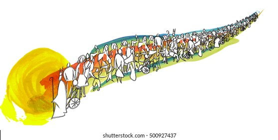 All saints abstract artistic illustration, walking in line towards the Heaven. Group or line of people.