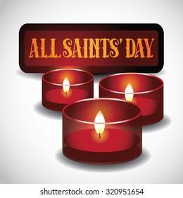 All Saints Day red votive candles design. illustration for holidays, religion, greeting card, advertising, social media, blog