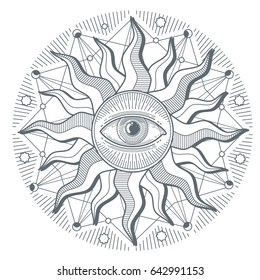 All seeing eye illuminati new world order freemasonry sign. Illustration of illuminati freemasonry symbol