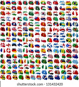 All World countries flag blots on a white background