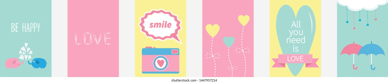 All you need is love quote text. Elephant family couple, photocamera, flower, heart, umbrella, cloud, dash line drops, pink ribbon. Love greeting card set line. Flat design.