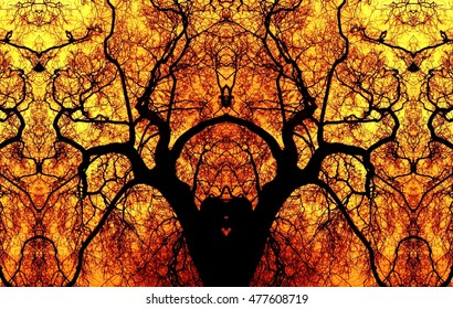 allegory of hell, Fire in the Galician forest, artistic representation, kaleidoscopic photo, Pyromaniacs,  visual allegories, visual metaphors, photographic allegories, photographic metaphors,