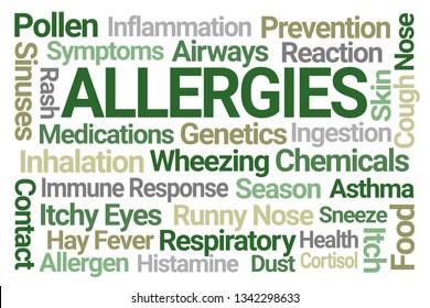 Allergies Word Cloud on Blue Background