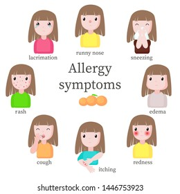 Allergy symptoms, flat isolated illustration. Girl suffering from allergic reaction symptoms such as runny nose, sneezing edema redness itching cough rash and lacrimation.