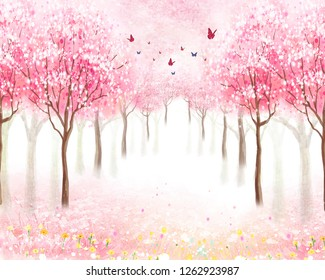 Alley of spring trees, pink flowers in the trees, fog, butterflies